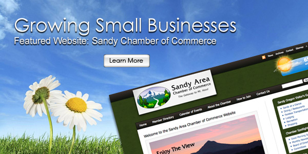 Growing Small Businesses. Featured Website Launch: Sandy Oregon Chamber of Commerce.