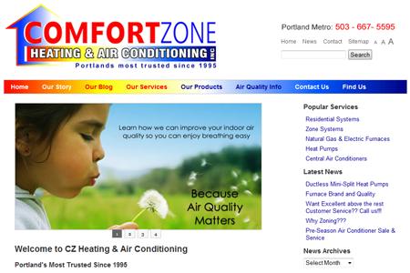 website launch comfort zone heating cooling alphabetix